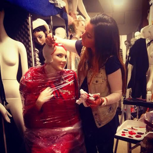 Me painting Mannequin hair for BG Christmas 2014